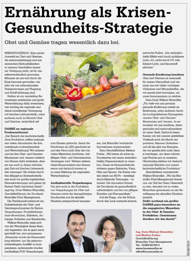 Ernährung als Krisen Gesundheits-Strategie