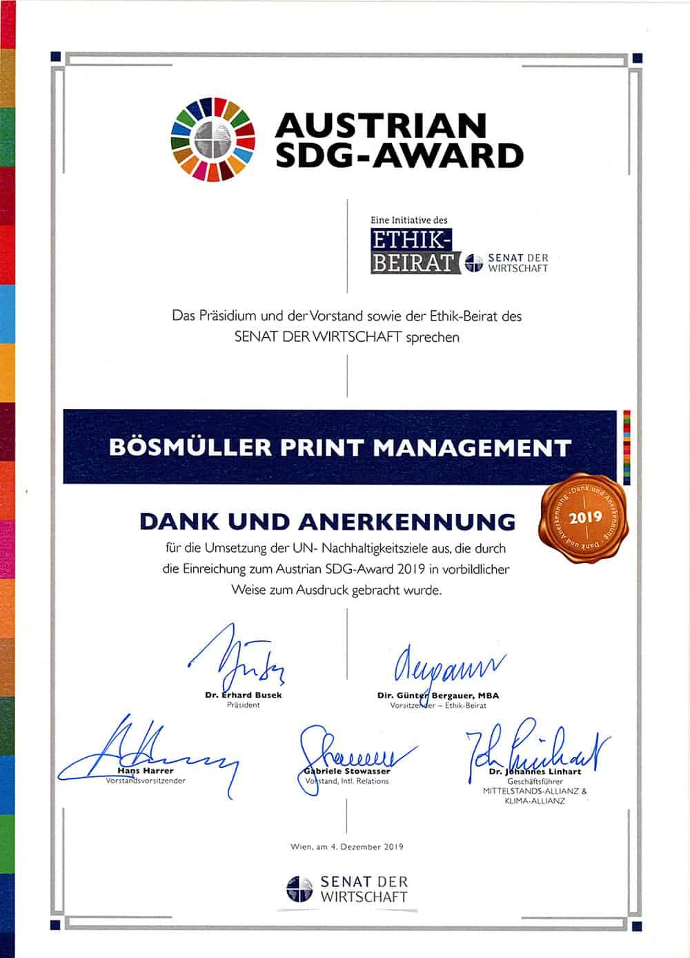 Urkunde Austrian SDG Award